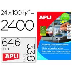 Etiqueta adhesivas Apli 3056 tamaño 64.6x33.8 mm removible caja 25 hojas A-4 removi