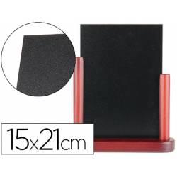 Pizarra de sobremesa Liderpapel negra doble cara de madera 15x21 cm