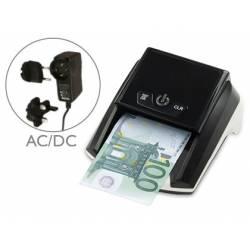 Detector marca Q-Connect billetes falsos cargador electrico puerto usb actualizacion de divisas
