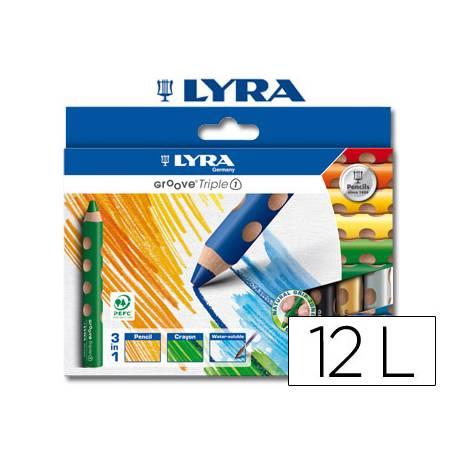 Lapices de colores acuarelable-cera Lyra groove triangulares mina gruesa 10 mm caja 12 colores