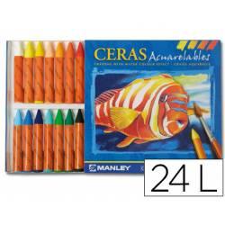 Lapices de cera masats acuarelable caja 24 unidades colores surtidos