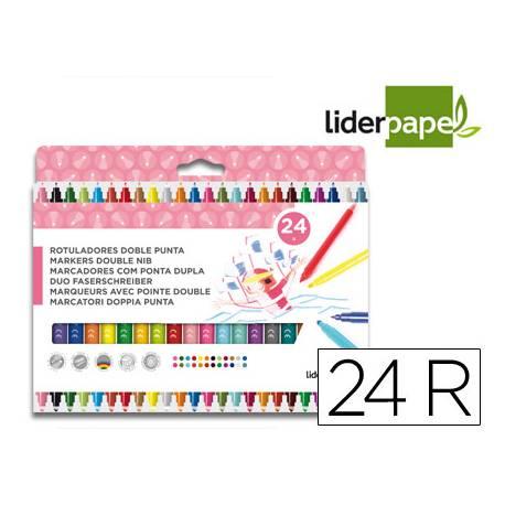 Rotuladores Liderpapel Duo Lavable Doble Punta Caja 24 Colores