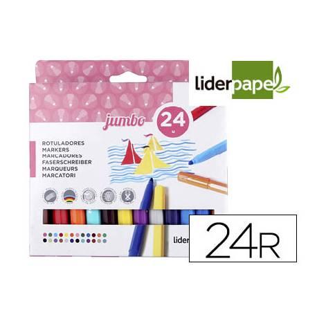 Rotuladores Liderpapel Jumbo caja de 24 colores