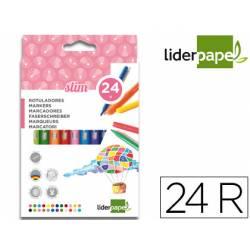 Rotuladores Liderpapel fino lavable caja de 24 colores