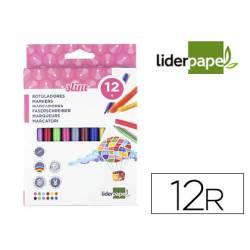Rotulador Liderpapel fino lavable caja de 12 colores