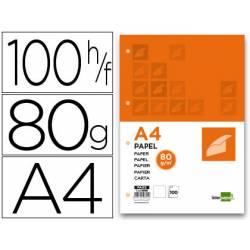 Papel Liderpapel Din-A4 80 gr . 4 TALADROS Y 100 HOJAS