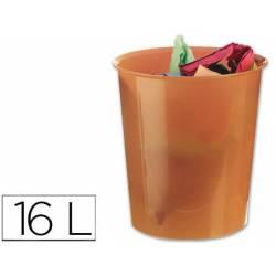 Papelera plástico Q-Connect naranja transparente de 16 litros