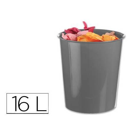 Papelera plástico Q-Connect gris opaco de 16 litros