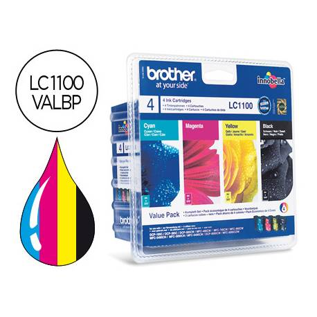 Cartucho Brother LC-1100VALBP Tricolor + Negro
