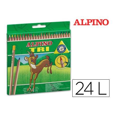 Lapices de colores Alpino triangulares caja 24 unidades