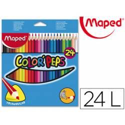 Lapices de colores triangulares Maped caja 24 unidades mina 5 mm
