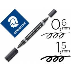 Rotulador Permanente Staedtler Lumocolor Dúo 348 Color Negro Doble Punta