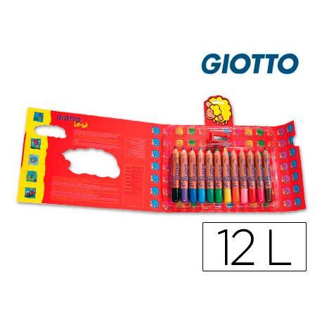 Lapices de colores Giotto redondos bebe caja 12 lapices grueso 104 mm