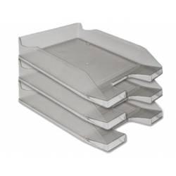 Bandejas sobremesa plastico Q-Connect color gris oscuro transparente