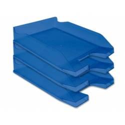 Bandejas sobremesa plastico Q-Connect color azul transparente