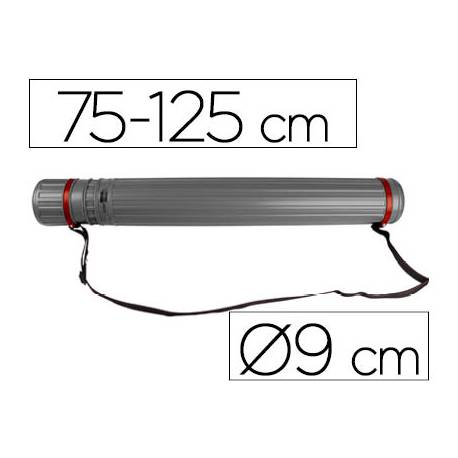 Portaplanos plastico extensible 75cm diametro 9 cm Liderpapel color gris