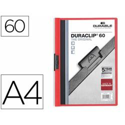 Carpeta dossier con pinza central duraclip Durable 60 hojas Din A4 color rojo