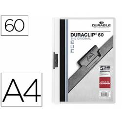 Carpeta dossier con pinza central duraclip Durable 60 hojas Din A4 color blanco