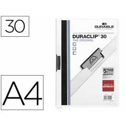 Carpeta dossier con pinza central duraclip Durable 30 hojas Din A4 color blanco