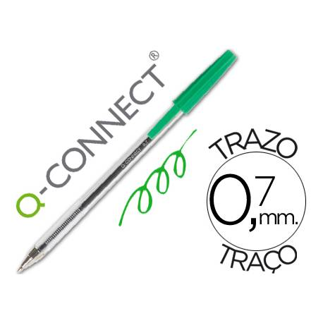 Boligrafo transparente Q-Connect Verde 0,7 mm