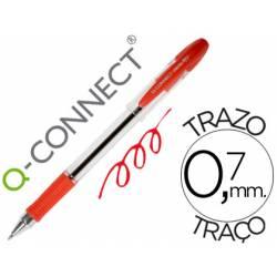 Boligrafo transparente Q-Connect rojo 0,7 mm con capuchón