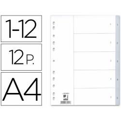 Separadores de plastico Q-Connect numericos multitaladro 1-12 DIN A4