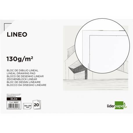 Bloc Liderpapel de dibujo blanco lineal tamaño folio 130g/m2