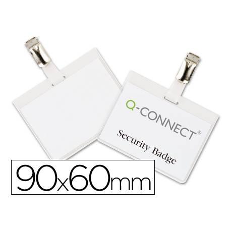 Identificadores Q-Connect de Seguridad con Pinza Metalica en PVC 9x6 cm