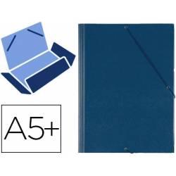 Carpeta Saro lomo flexible gomas con solapas cuarto azul