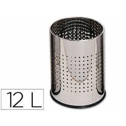 Papelera metalica cromada de 12 L
