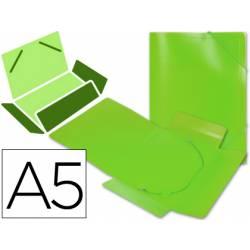 Carpeta lomo flexible gomas con solapas Liderpapel Din A5 color verde
