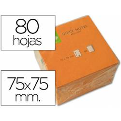 Bloc quita y pon Q-Connect 75x75mm color Naranja Neon
