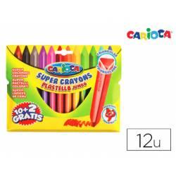 Lapices de cera Carioca Jumbo caja con 12 colores surtidos