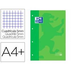 RECAMBIO COLOR 1 OXFORD DIN A4+ 80 HOJAS 90 GR CUADRO 5 MM 4 TALADROS COLOR VERDE MANZANA