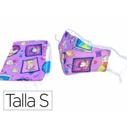 MASCRILLA FACIAL DE PROTECCION INFANTIL REUTILIZABLE LAVABLE REGULABLE PRINCESAS CON FUNDA