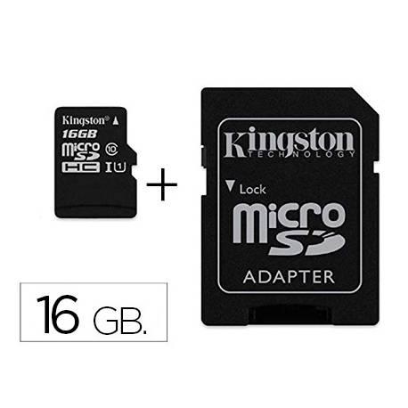Memoria SD Micro Kingston 16 GB de clase 10 con adaptador