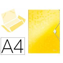 Carpeta de gomas Leitz Wow con solapas Polipropileno Din A4 color Amarillo