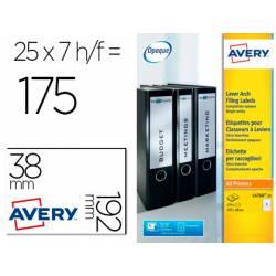 Etiqueta adhesiva Avery 38x192 mm Blanco Caja de 175 unidades