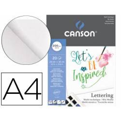 Bloc dibujo Multitecnicas Canson Lettering Mix Media 24x32 cm 200 g/m2