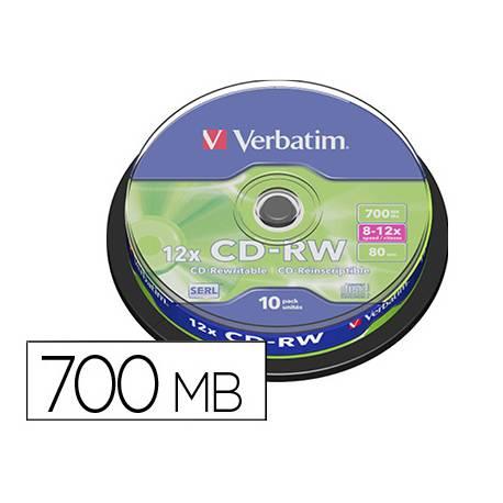 CD-RW VERBATIM SERL CAPACIDAD 700MB VELOCIDAD 12X 80 MIN TARRINA DE 10 UNIDADES