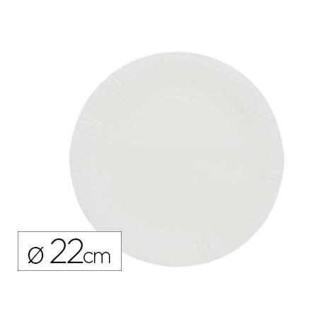 Plato de papel reciclable 23cm color blanco
