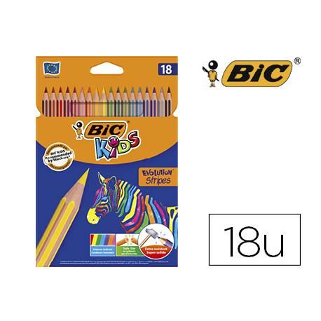 Lapices de colores Bic evolution Stripes caja de 18 colores surtidos