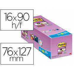 Post it ® Bloc de notas adhesivas Super sticky quita y pon 76x127 mm Amarillo canario Pack de 16 unidades