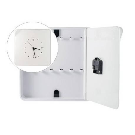Armario portallaves plástico Paperflow con reloj 12 llaves 320x320x60 mm Blanco
