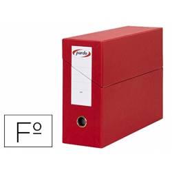 Archivador con tapa Pardo Folio color Rojo 390x270x115 mm