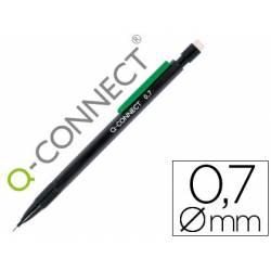 Portaminas Q-Connect trazo 0.7 mm color negro con clip verde y 3 minas