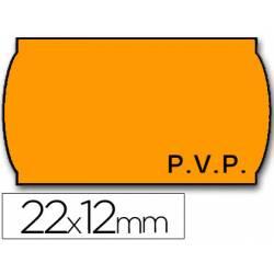 Rollo Etiquetas adhesivas marca Meto PVP removibles naranja 22 x 12