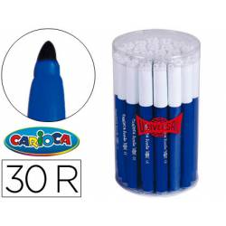 Rotulador Carioca Jumbo grueso caja 30 rotuladores azules