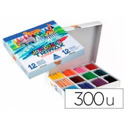 Lapices cera Jovi color triwax 300 unidades de 12 colores surtidos