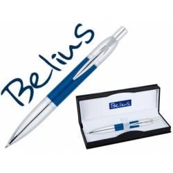 Bolígrafo Belius Perpignan 1mm Tinta Azul Lacado en Azul con Adornos Cromados con Estuche